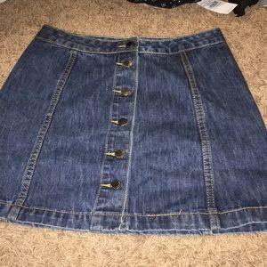 Top shop button down denim skirt